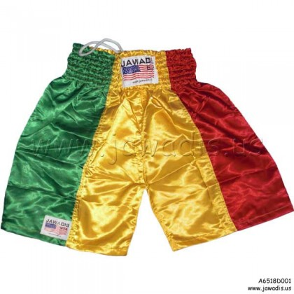 Boxing Trunks, Fitness, Training Shorts - Green, Yellow, & Red (vertical) - Size S