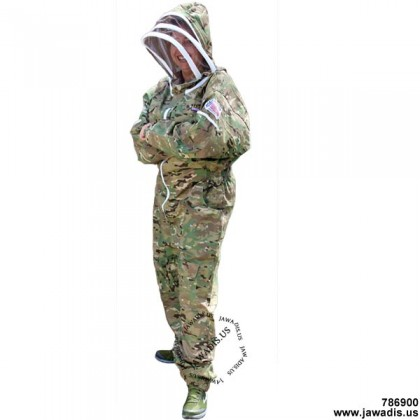 8XL Adult Full Bee Suit with Fence Veil - Camouflage Green