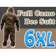 6XL Adult Full Bee Suit with Fence Veil - Camouflage Green - FREE Beekeeping Gloves