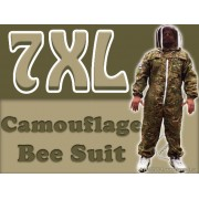 7XL Adult Full Bee Suit with Fence Veil - Camouflage Green - FREE Beekeeping Gloves