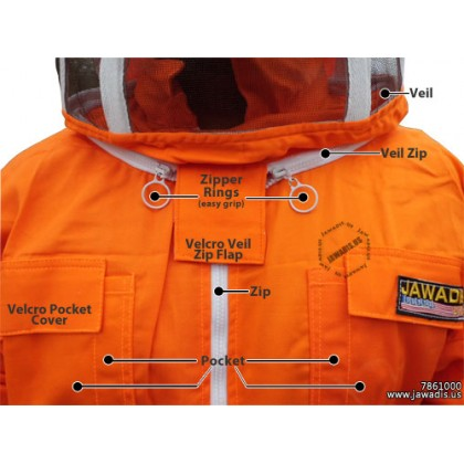 Adult Orange Pest Control Beekeepers Suit with Fence Style Veil