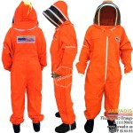 Adult Full Bee Suit with Fence Style Veil - Fluorescent Orange & FREE Pair Bee Gloves