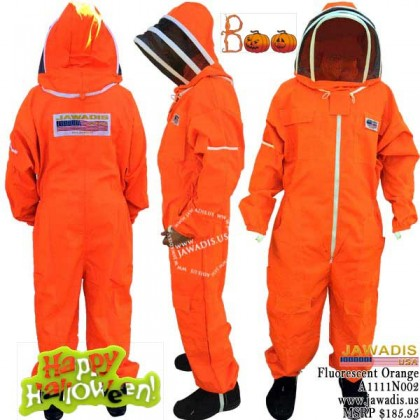 Adult Full Bee Suit with Fence Style Veil - Fluorescent Orange - Christmas Gift Ideas
