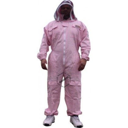 Adult Full Bee Suit with Fence Style Veil - Pink