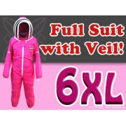 6XL Adult Full Bee Suit with Fence Style Veil - Fuchsia