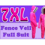 7XL Adult Full Bee Suit with Fence Style Veil - Fuchsia - Christmas Gift Ideas