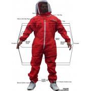 Adult Full Bee Suit with Fence Veil - Red