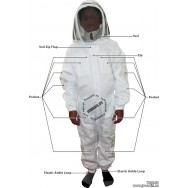 Adult Full Bee Suit with Fence Style Veil - White