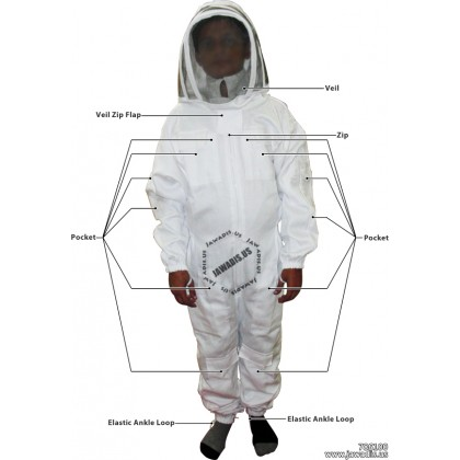 Adult White Pest Control Beekeeping Suit with Fence Veil