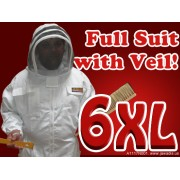 6XL Adult Full Bee Suit with Fence Style Veil  - White