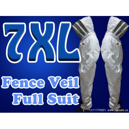 7XL Adult Full Bee Suit with Fence Style Veil  - White