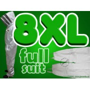 8XL Adult Full Bee Suit with Fence Style Veil - White - FREE Beekeeping Gloves