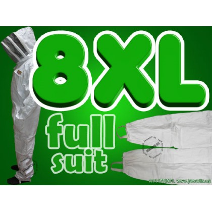 8XL Adult Full Bee Suit with Fence Style Veil - White