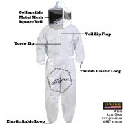 Adulte White Pest Control Beekeepers Bee Suit with Square Style Veil - FREE Bee Gloves