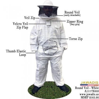 Adult White Beekeeping Sheriff Bee Suit with Round Sheriff Veil - Christmas Gift Ideas