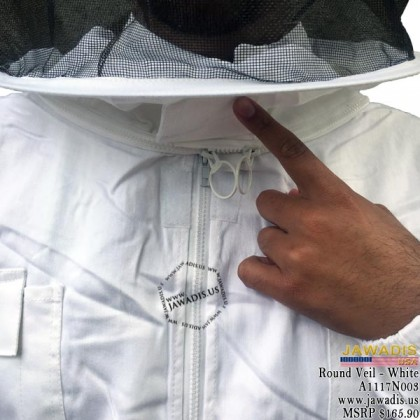 Adult White Beekeeping Sheriff Bee Suit with Round Sheriff Veil - FREE Beekeeping Gloves
