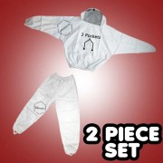 2 Piece White Beekeepeing Suit Sheriff Veil Jacket & Pants Combo - FREE Beekeeping Gloves