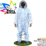 Adult Mighty Breeze Full Bee Suit with Fence Style Veil - White [L]
