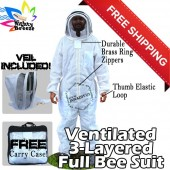 Jawadis Adult Off White Mighty Ultrabreeze Bee Suit & Fence Veil. FREE Pair Vented Bee Gloves