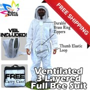 Jawadis Adult Off White Mighty Ultrabreeze Bee Suit & Fence Veil - FREE Beekeeping Gloves