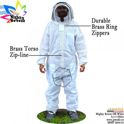 9XL Jawadis Off-White Full ventilated Bee Suit & Vented Fence Veil - FREE Beekeeping Gloves