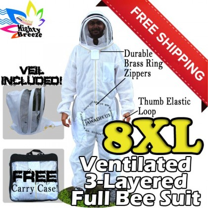 8XL Jawadis Off-White Ventilated Best Bee Suit & Vented Fence Veil - FREE Beekeeping Gloves