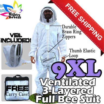 9XL Jawadis Off-White Full ventilated Bee Suit & Vented Fence Veil