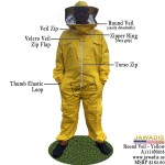 Adult Yellow Beekeeping Bee Suit with Round Sheriff Style Veil - Christmas Gift Ideas