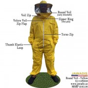 Adult Yellow Beekeeping Bee Suit with Round Sheriff Style Veil - FREE Beekeeping Gloves