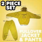 2 Piece Yellow Bee Suit Jacket with Sheriff Veil & Pants Combo - FREE Beekeeping Gloves