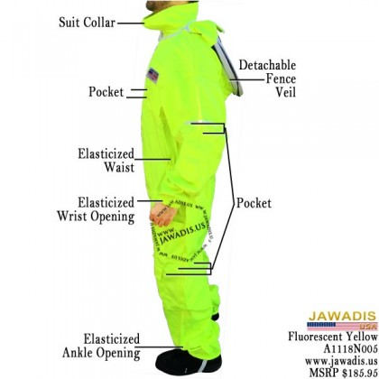 Adult Full Bee Suit with Fence Style - Fluorescent Yellow