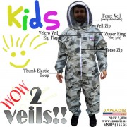 Child's Full Beekeeping Bee Suit with Fence Style Veil - Snow Camo