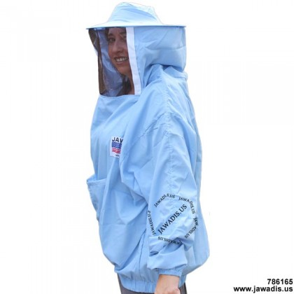 Adult Blue Lightweight Pullover Bee Jacket with Sheriff Round Veil - FREE Bee Gloves