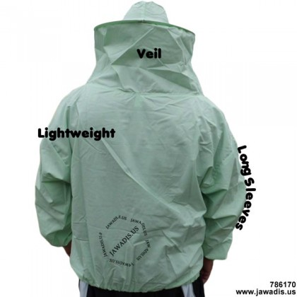 Adult Lightweight Pullover Bee Jacket with Sheriff Round Veil - Green - FREE Bee Gloves