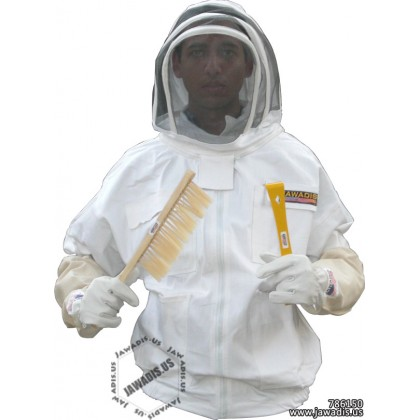 Adult White Pest Control Beekeepers Bee Jacket with Fence Veil - FREE Bee Gloves
