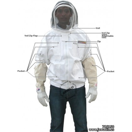 Adult Yellow Beekeeping Bee Jacket with Fence Veil  - Christmas Gift Ideas