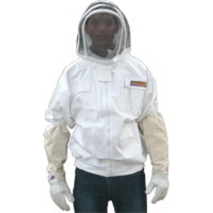 8XL Adult White Beekeeping Jacket with Fence Veil - FREE Bee Gloves