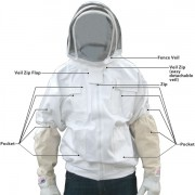 Adult White Pest Control Beekeepers Bee Jacket with Fence Veil - FREE Bee Gloves - Christmas Gift Ideas