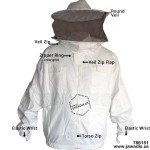 Adult White Pest Control Beekeepers Bee Jacket Sheriff Round Veil - FREE gloves