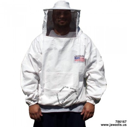 Adult White Pullover Beekeeping Jacket with Sheriff Round Veil - FREE Bee Gloves