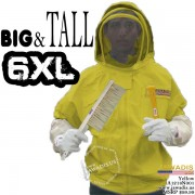 6XL Yellow 100% Cotton Adult Beekeepers Bee Jacket with Fence Veil - FREE Beekeeping Gloves
