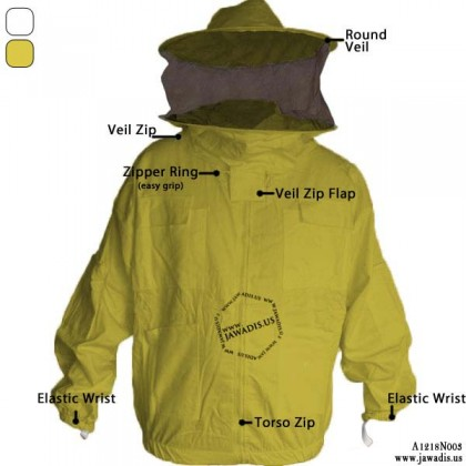 Adult Yellow Pest Control Bee Jacket with Sheriff Round Veil & Free Bee Gloves