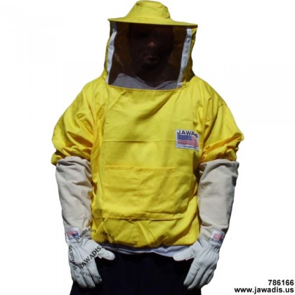Adult Pullover Bee Jacket with Sheriff Round Veil - Yellow - FREE Bee Gloves - Christmas Gift Ideas