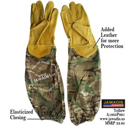 Camouflage Green Adult 100% Cowhide Leather Bee Gloves - Yellow