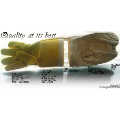 Adult Premium Ventilated Cowhide Bee Gloves - Yellow - Christmas Gift Ideas