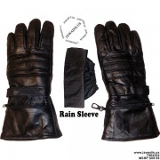 Men's 100% Lambskin Leather Winter Gloves Motorcycle Biker Gloves - Black