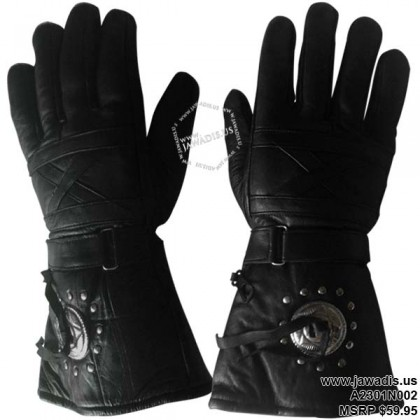Men's 100% Lambskin Leather Concho Gauntlet Rivet Stud Biker Glove - Black