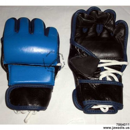 Men's Blue MMA Professional Competition Grappling Lace Up Gloves