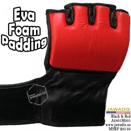 Men's MMA Professional Competition Grappling Gloves - Red & Black