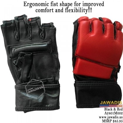 Men's Red & Black MMA Pro Competition Wrist Strap Grappling Gloves